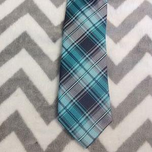 Bar lll Blue Teal Plaid Tie 100% silk